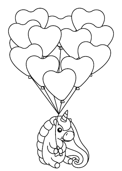 Printable Valentine Cards to Color Unicorn Heart Balloons 5x7
