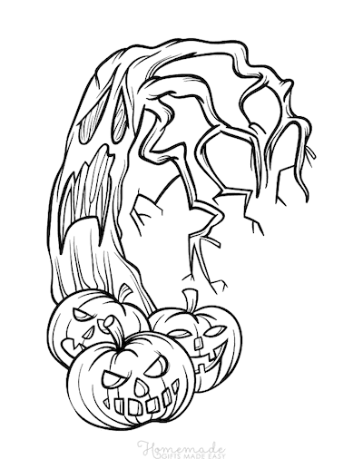 Pumpkin Coloring Pages 3 Carved Pumpkins Scary Tree