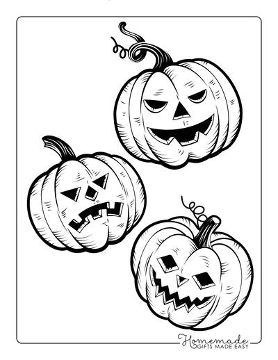 Pumpkin Coloring Pages 3 Carved Scary Pumpkin Faces