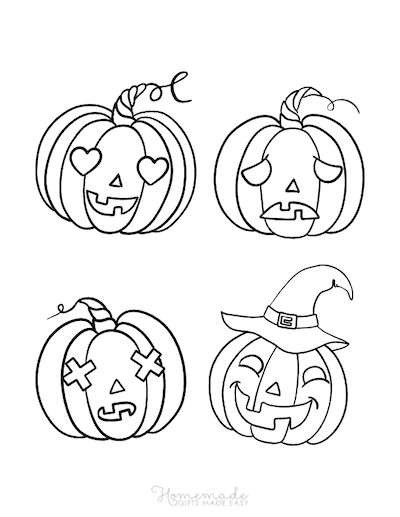 Pumpkin Coloring Pages 4 Carved Faces Scary