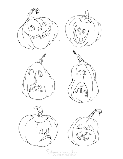 Pumpkin Coloring Pages 6 Carved Pumpkins Hand Drawn