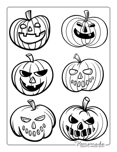 Pumpkin Coloring Pages 6 Carved Templates Scary Faces