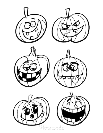 Pumpkin Coloring Pages 6 Funny Faces