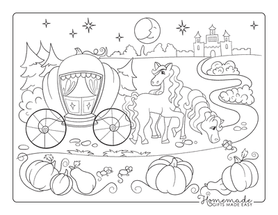 Pumpkin Coloring Pages Carriage With Horses Mice Palace
