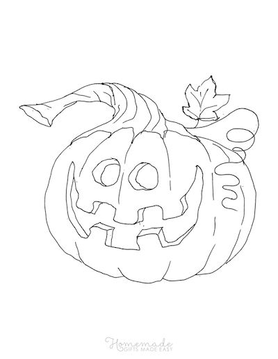 Pumpkin Coloring Pages Carved Happy Pumpkin With Leaf