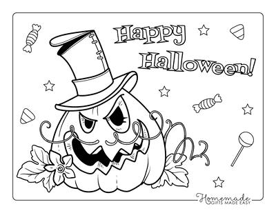Pumpkin Coloring Pages Carved Pumpkin Vine Mustache Top Hat