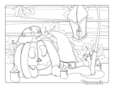 Pumpkin Coloring Pages Carved Pumpkin Wiches Hat Falling Leaves Candles Lantern Apple