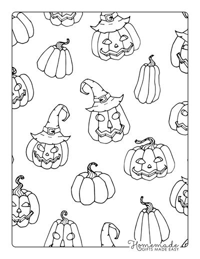 Pumpkin Coloring Pages Carved Pumpkins Background