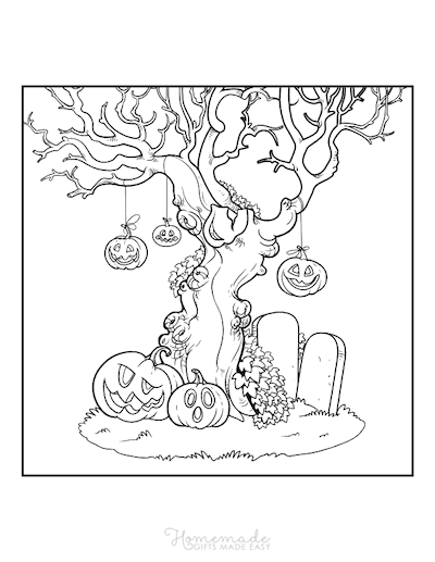 Pumpkin Coloring Pages Carved Pumpkins Hanging From Spooky Tree