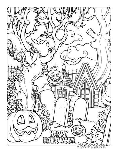 Pumpkin Coloring Pages Carved Pumpkins Hanging in Graveyard