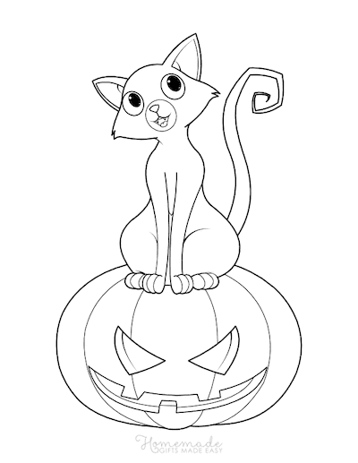 Pumpkin Coloring Pages Cat on Carved Pumpkin