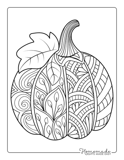 Pumpkin Coloring Pages Decorative Patterned Pumpkin With Leaf