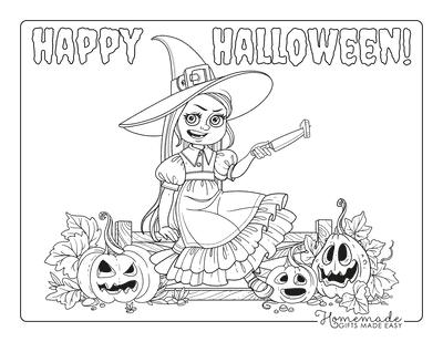 Pumpkin Coloring Pages Girl Carving Pumpkins