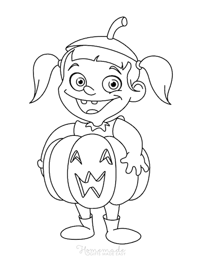 Pumpkin Coloring Pages Girl Pumpkin Costume