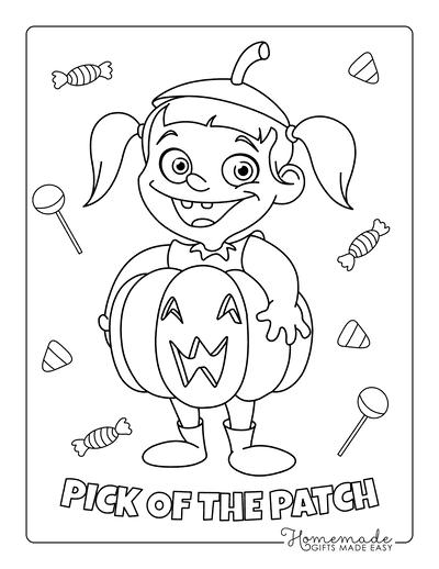 Pumpkin Coloring Pages Girl Pumpkin Costume