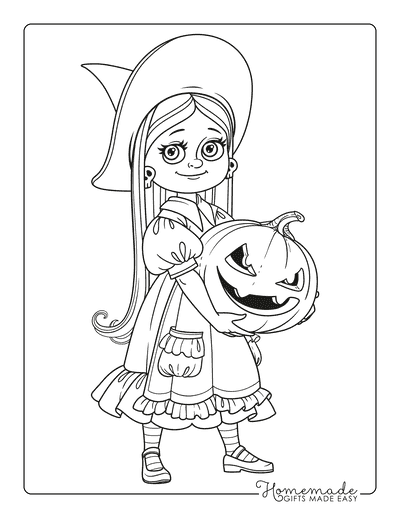 Pumpkin Coloring Pages Girl Witch Holding Carved Pumpkin