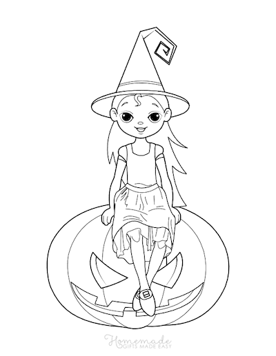 Pumpkin Coloring Pages Girl Witch on Carved Pumpkin