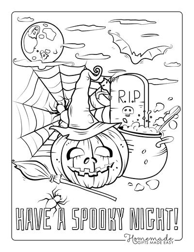 Pumpkin Coloring Pages Halloween Pumpkin Cauldron Spooky