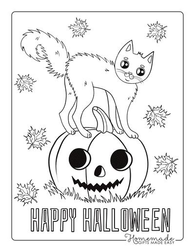 Pumpkin Coloring Pages Happy Halloween Cute Cat on Pumpkin