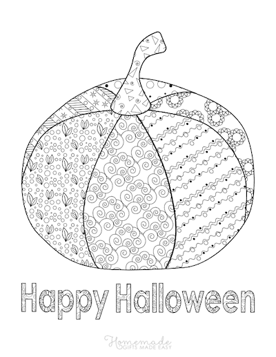 Pumpkin Coloring Pages Happy Halloween Intricate Pattern on Pumpkin