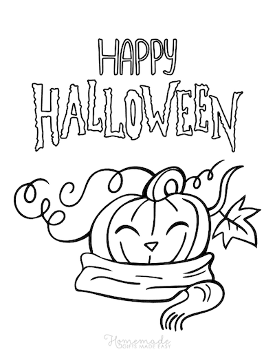 Pumpkin Coloring Pages Happy Halloween Pumpkin With Scarf