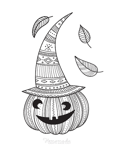 Pumpkin Coloring Pages Intricate Pattern Carved Pumpkin Wearing Hat Falling Leaves