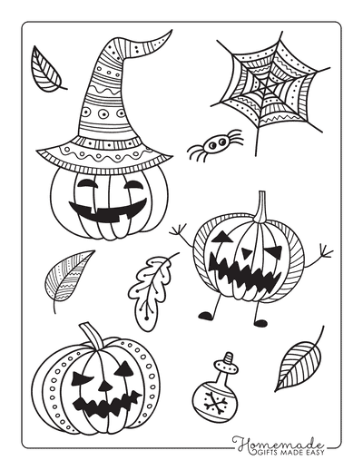 Pumpkin Coloring Pages Intricate Patterned Carved Pumpkins Scary Poison Spider