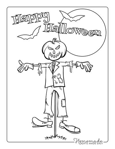 Pumpkin Coloring Pages Jack O Lantern Scarecrow Head
