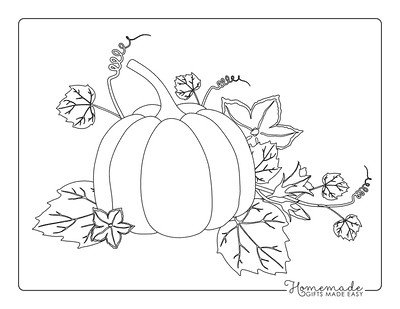 Pumpkin Coloring Pages Line Drawing Fall Pumpkin on Vine