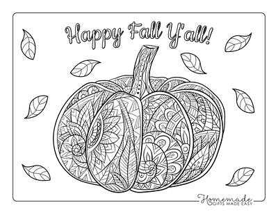 Pumpkin Coloring Pages Patterned Decorative