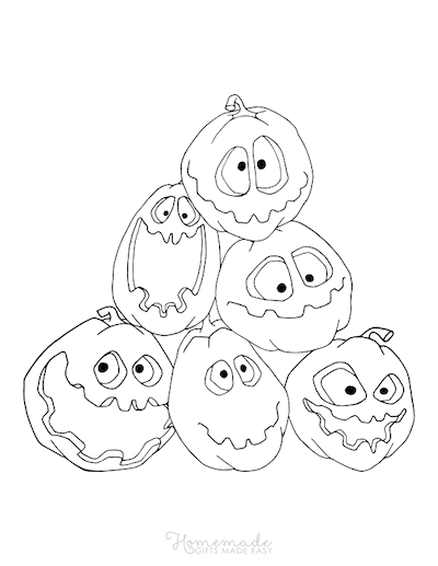 Pumpkin Coloring Pages Pile of Carved Pumpkins With Silly Faces