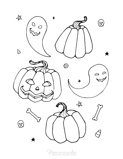 Pumpkin Coloring Pages Pumpkins Bones Skulls Collage