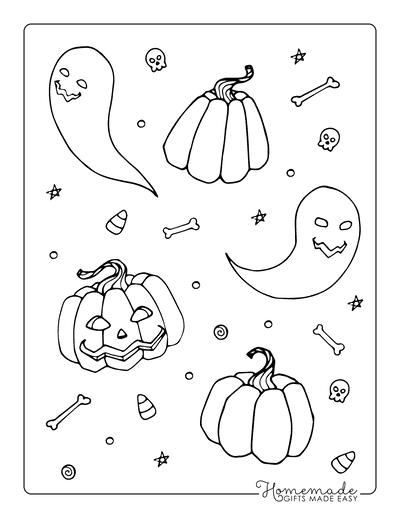 Pumpkin Coloring Pages Pumpkins Bones Skulls Collage