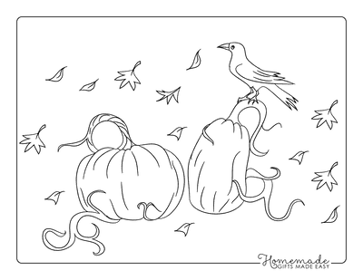Pumpkin Coloring Pages Raven Sitting on Pumpkin Patch Leaves Blowing