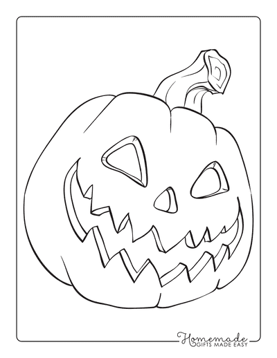 Pumpkin Coloring Pages Scary Carved Face 1