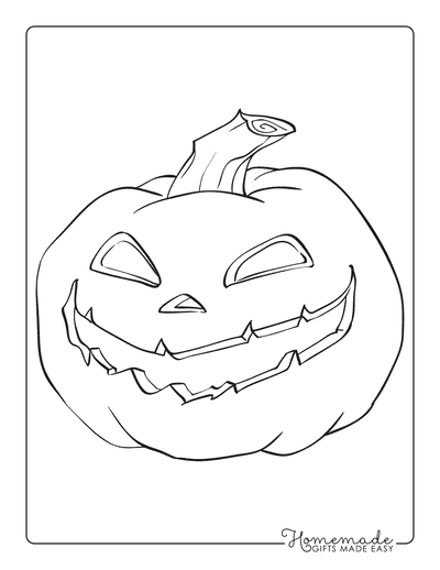 Pumpkin Coloring Pages Scary Carved Face 2