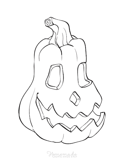 Pumpkin Coloring Pages Scary Carved Face 4