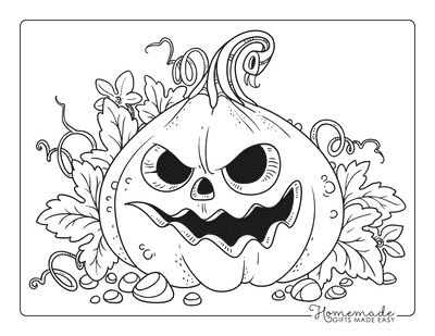Pumpkin Coloring Pages Scary Carved Pumpkin Leaves