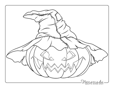 Pumpkin Coloring Pages Scary Carved Pumpkin Wearing Witches Hat