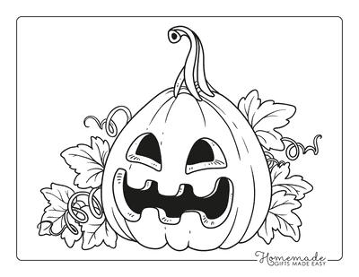 Pumpkin Coloring Pages Scary Face Carved Pumpkin Leaves