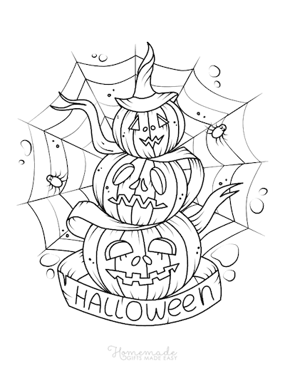 Pumpkin Coloring Pages Scary Pile of Pumpkins Spiders Web