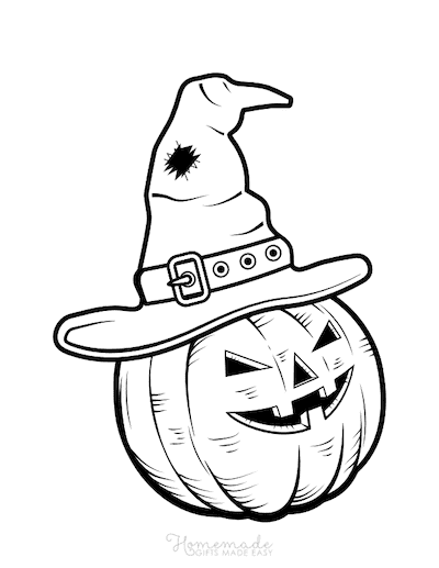Pumpkin Coloring Pages Scary Pumpkin Face Witches Hat