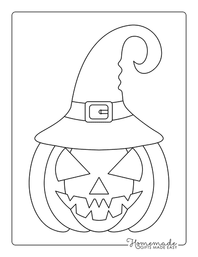 Pumpkin Coloring Pages Simple Pumpkin Face Witches Hat