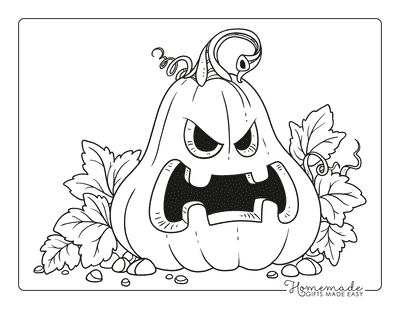 Pumpkin Coloring Pages Spooky Carved Pumpkin Leaves