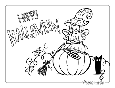 Pumpkin Coloring Pages Spooky Writing Cute Witch Sitting on Pumpkin Black Cat