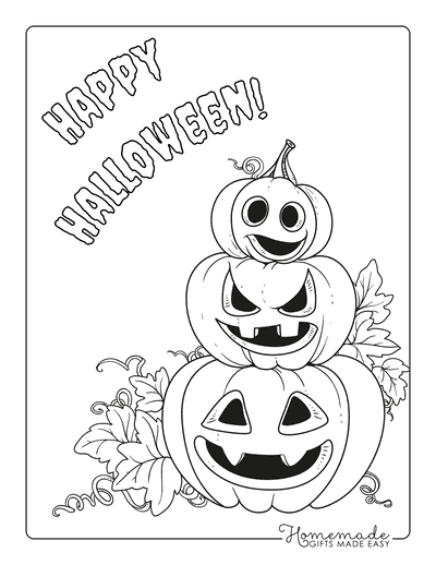 Pumpkin Coloring Pages Stack of Carved Pumpkins With Vine