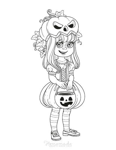 Pumpkin Coloring Pages Trick or Treat Girl in Pumpkin Costume