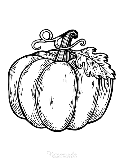 Pumpkin Coloring Pages Wood Cut Style Drawing Pumpkin With Leaves