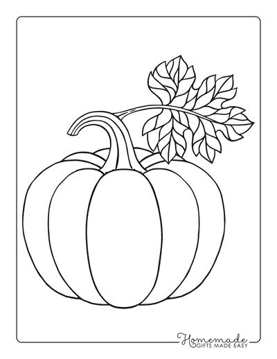 Pumpkin Template Printable With Leaf Large