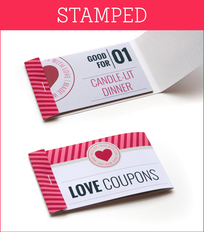 Stamped Romantic Coupons  Fun Voucher Template